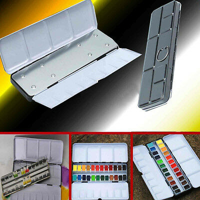 24 Blocks Iron Empty Watercolor Paint Tin box Metal Case With Pigment Card Slot