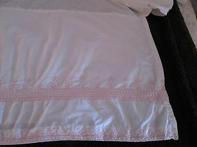 Pottery Barn Kids White and Pink Smocked Cribskirt
