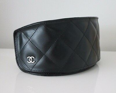 AUTH Chanel Black Quilted Eye/Sunglasses Case, Made In Italy
