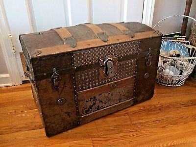 Antique Vintage Dome Top Trunk Metal Wood Victorian Steamer Wedding Bride Chest