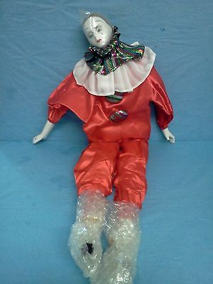"""Vintage Porcelain Faced Pierrot Jester Clown Doll HUGE 22"""" Crying Tears"""