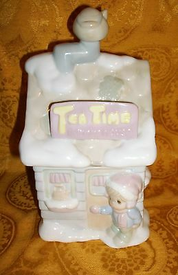 """1994 Precious Moments Tea Time Canister- 8 1/2"""" x 4 1/2"""" X 4 1/2"""""""