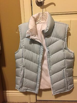 Columbia Down Vest Ice Blue / White Reversible Womens Size Med