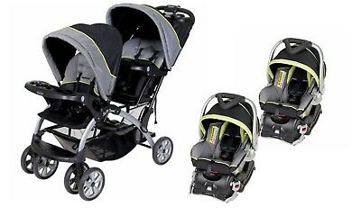 Baby Trend Double Stroller Sit N Stand Two Infant Car Seat W Base New And
