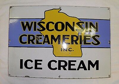 Porcelain Vintage Wisconsin Creameries Ice Cream Sign, Dairy Milk, Real Deal!