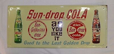 Vintage Sun Drop Cola Soda Sign Sst Very Nice Embossed Diet Coca Cola Pepsi