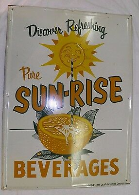 Sunrise Beverages Sign From Coca Cola Co. 1950's Nice Vibrant Scarce