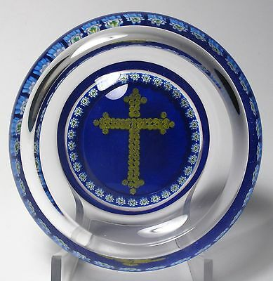 Large Peter Mcdougall Millefiori Paperweight Pin Dish - Gold Cross And Garland