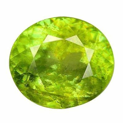 1.500Cts Attractive Super Luster Green Natural  Sphene Oval Loose Gemstones