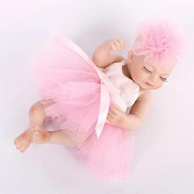 Reborn Baby Doll Soft Full Silicone 11inch Girl Baby Doll in Cute Princess Dress