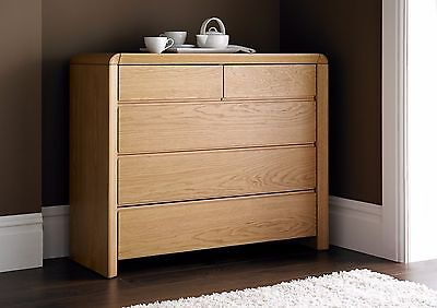Arran Oak Finish 3+2 Chest of Drawers