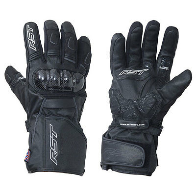 RST Rallye CE Black Adventure Motorcycle Waterproof Leather Gloves | All Sizes