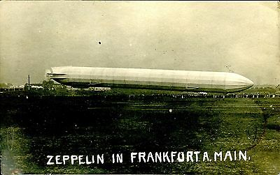 Germany 1910 Airship Luftschiff Zeppelin In Frankfurt A.m. Rppc Vf Used