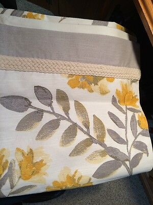 """Threshold Yellow & Gray Floral Table Runner    14"""" x 72"""""""