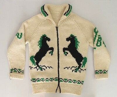 Excellent Vintage Handmade Wool Horse Cowichan Cardigan Sweater Equestrian M/L