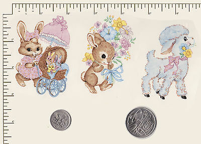 3 x Waterslide ceramic decals Decoupage Nursery Children Rabbits Lamb PD54