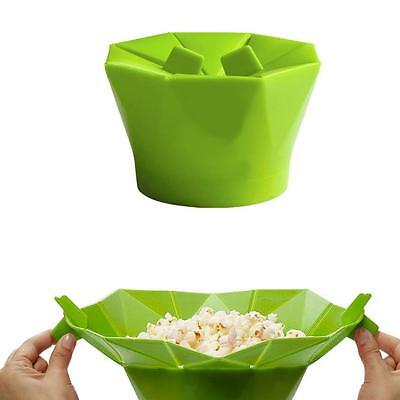 Kitchen Foldable Silicone Microwave Popcorn Maker Container Cooking Tool GRN
