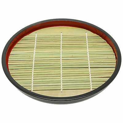 """2x Japanese 8.5""""Red/Bamboo Mat Lacquer Tray#260-825"""