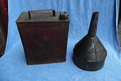 Vintage  Petrol Can & Large Tin Funnel For Restoration / Repurpose
