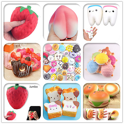 Jumbo Soft Squishy Fruit Breads Charms Cream Scented Slow Rising Kids Toy Phone