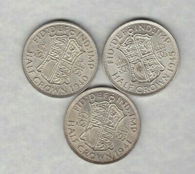 1940 & 1943 George Vi 50% Silver Half Crowns In Extremely Fine Condition