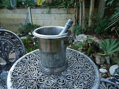 Champagne Ice Bath 3 Bottle With Lid Pewter Silver Finish Wine Cooler Bucket Tub