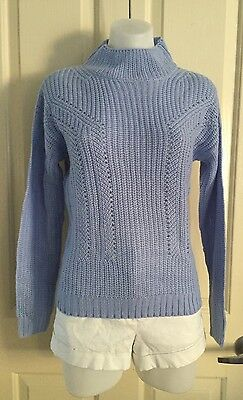 New! Blue High Neck Knit Long Sleeve Jumper From Ice Size XS 6