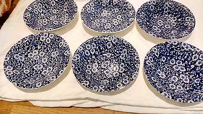 Calico, Burleigh,   Soup/dessert Bowls, 6 In Total