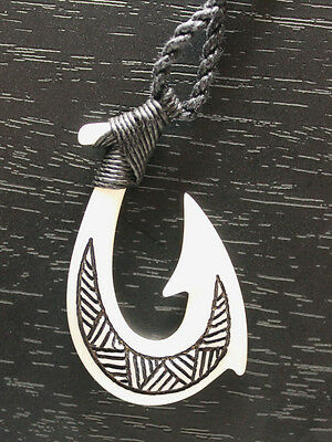 Buffalo Bone Carved Tribal Fish Hook Necklace Adjustable Cord Handcrafted B2229