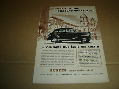 1951 vintage portuguese advertising AUSTIN car original print ad
