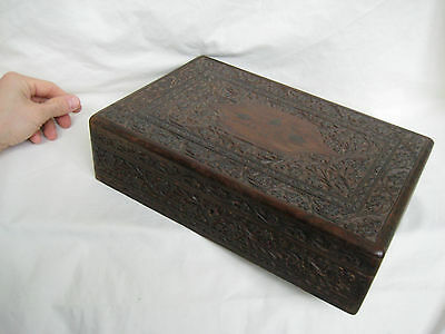 Old Carved Wooden Anglo Indian Stationary Box