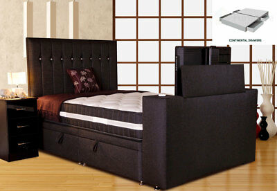 Image Sparkle TV Bed 5FT King Size PT Continental Midnight w/Jazira Mattress