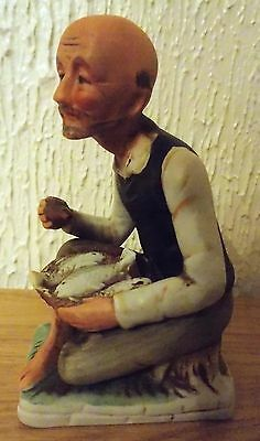 Ornament - Old Man With Basket Of Fish - Used