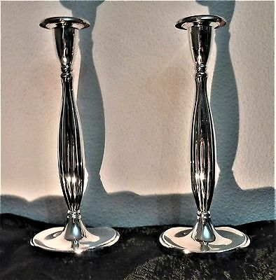 JUDAICA PAIR OF ISRAEL SILVER 800 NOT USED CANDLESTICKS YEARS 60-s