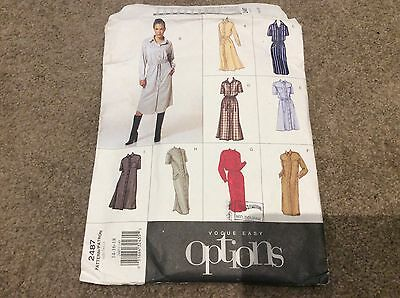 VOGUE EASY OPTIONS 2487 size 14 16 18 NEW UNCUT DRESS LOOSE FITTING SEW PATTERN
