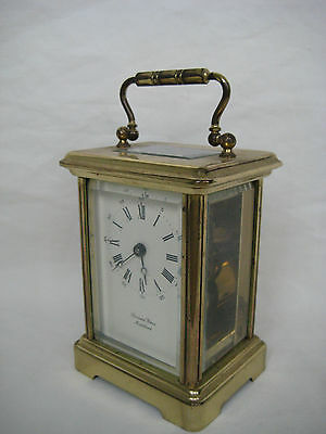 Old French BORNAND FRERES Glass & Brass Carriage Clock