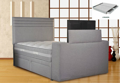 Image Chic TV Bed 5FT King Size SE 4 Drawers Silver Mist w/Jazira Mattress