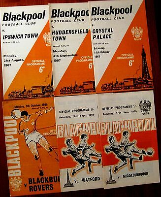 Blackpool 1967/68 to 1969/70 Div. 2 - 6 Assorted Programmes.