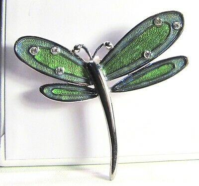 Colorful LC Signed Dragonfly Brooch w Sparkly Wing Stones