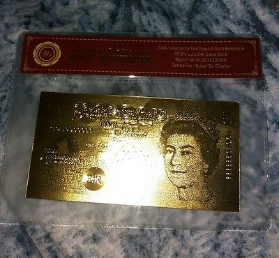£5 british note 24 carat gold with certificate and protective sleeve
