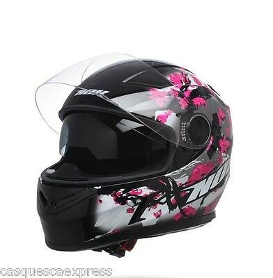 Casque Scooter Moto Integral Nox N917 Cherry Noir Rose
