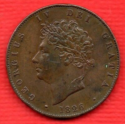 1826 KING GEORGE IV COPPER HALF PENNY COIN. HALFPENNY. 1/2d.