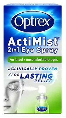 OPTREX ACTIMIST 2 In 1 EYE SPRAY FOR TIRED+UNCOMFORTABLE EYES BNIP 100% AUTH