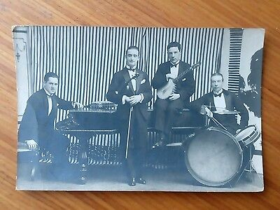Vintage* Band of Four Gentlemen with Violin and Bow and Drums, Piano, Banjo.
