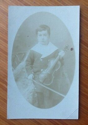 Vintage* Postcard. Young boy in costume with a violin and bow. Real photo, oval.