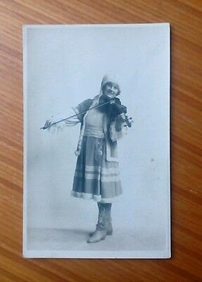 Vintage* Lady with a violin and bow GEORGE WEAKS, 121 Lammas Street, Carmarthen