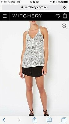 Ladies Witchery Top Size 4 Black And White
