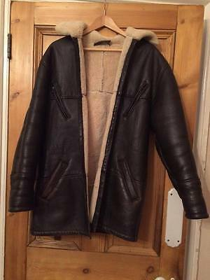 Large Original Shearling Brown Leather Sheepskin Jacket