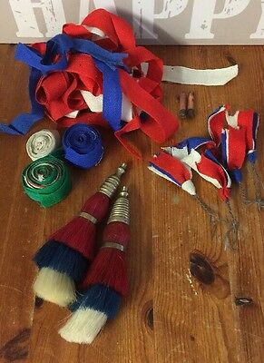 Large Vintage Pair Red/white/blue Horse Brass Plumes & Ribbons, Accessories Etc