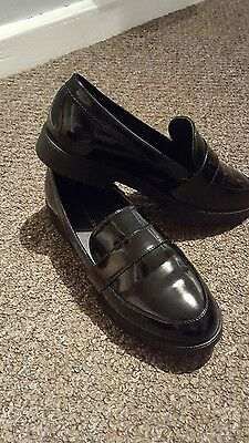 Black patent platform loafers size 6 - wide fitting.